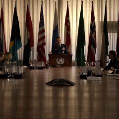 Talbot da un discurso ante las Naciones Unidas.