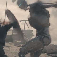 Romanoff usa el escudo de Rogers para pelear