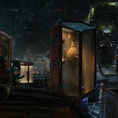 Quill y los demás espían a Thanos a distancia.