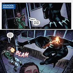 T'Challa recibe el disparo de una bala de Vibranio por Zanda.