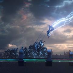 Thor aterriza en el Puente Arcoíris.