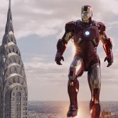 Stark tras colocarse su armadura Mark VII.