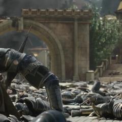Hogun es asesinado por Hela.