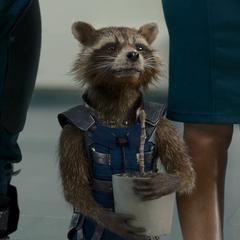 Rocket carga la maceta de Groot.