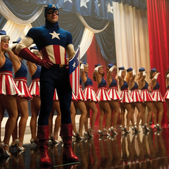 Rogers dando un espectáculo como el Capitán América.