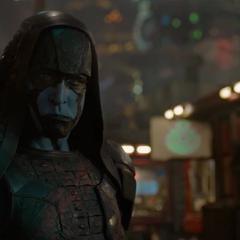 Ronan a punto de confrontar a Drax.