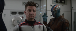 Hawkeye wearing time travel suit