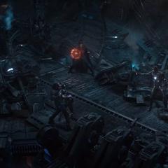 Los Vengadores y los Guardianes de la Galaxia pelean.