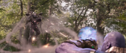 War Machine firing at Thanos