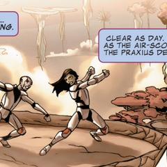 Gamora y Nebula entrenan bajo la dirección de Ronan por Thanos.
