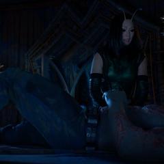 Mantis trata de advertir a Drax.