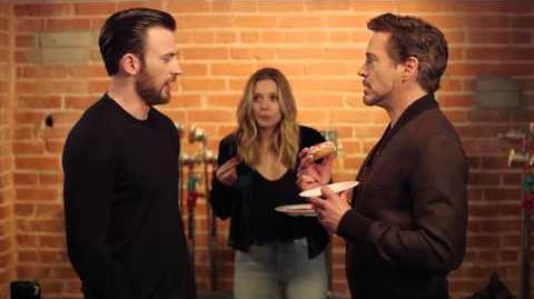 Chris Evans, Robert Downey Jr & Elizabeth Olsen - Tony Steals The Last Donut