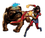 Kamala Khan and Lockjaw (Earth-12131) from Marvel Avengers Alliance