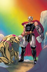Thor Odinson (Earth-616) and Odin Borson (Earth-616) from War of the Realms Vol 1 6 001