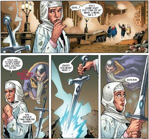 Faiza Hussain (Earth-616) with Excalibur (Sword) from Captain Britain and MI-13 Vol 1 4 001