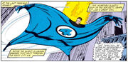 Mister Fantastic sails across New York from Fantastic Four Vol 1 232