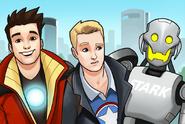 Ultron (Earth-TRN562), Anthony Stark (Earth-TRN562) and Steven Rogers (Earth-TRN562) from Marvel Avengers Academy 001