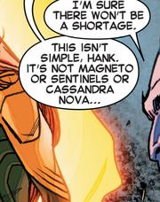 Max Eisenhardt (Earth-BWXP) and Cassandra Nova Xavier (Earth-BWXP) from X-Tinction Agenda Vol 1 2 002
