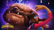 Lockjaw (Earth-TRN517) and Kamala Khan (Earth-TRN517) from Marvel Contest of Champions 001