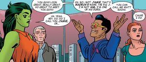 Steven Rogers (Earth-616), Jennifer Walters (Earth-616), James Madrox (Matt Rocks) (Earth-616), and Patricia Walker (Earth-616) from She-Hulk Vol 3 8