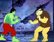 Quasimodo (Earth-8107) and Bruce Banner (Earth-8107) from Incredible Hulk (1982 animated series) Season 1 4 0001