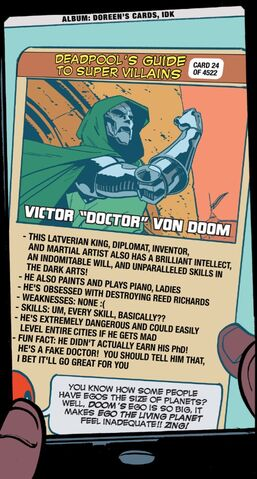 File:Victor von Doom (Earth-616) on Deadpool's Guide to Super Villains Cards from Unbeatable Squirrel Girl Vol 2 2.jpg