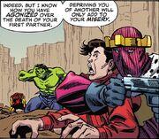 Anthony Stark (Earth-616), Bruce Banner (Earth-616), Richard Jones (Earth-616), and Heinrich Zemo (Earth-616) from Hulk Smash Avengers Vol 1 1 001