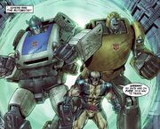 James Howlett (Earth-7642) and Autobots (Earth-7642) from New Avengers Transformers Vol 1 4 001