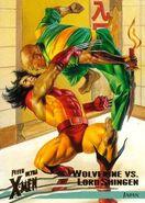 Shingen Harada (Earth-616) vs. James Howlett (Earth-616) from Ultra X-Men Wolverine (Trading Cards) 001