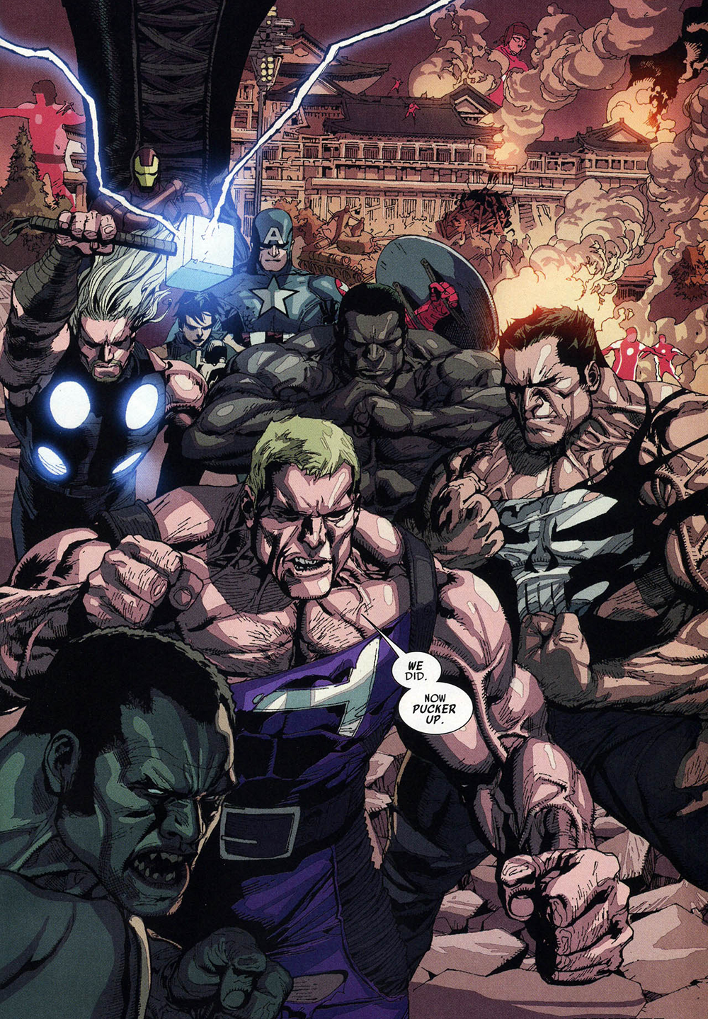 Avengers (Earth-1610) and New Ultimates (Earth-1610) Ultimate Avengers vs.  New Ultimates Vol 1 5.png