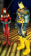 Wanda Maximoff (Earth-7964) and Piotr Rasputin (Earth-7964) from X-Men Legends II Rise of Apocalypse 001