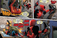 Wade Wilson and Peter Parker vs Symbiote Dinosaurs (Earth-616) from Cable & Deadpool Vol 1 50 0001