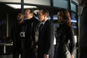 Antoine Triplett (Earth-199999), John Garrett (Earth-199999), Phillip Coulson (Earth-199999), and Melinda May (Earth-199999) from Marvel's Agents of S.H.I.E.L.D. Season 1 16 001