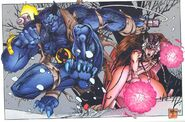 Henry McCoy (Earth-616) and Elvia Swensen (Earth-93060) from Battlezones Dream Team 2 Vol 1 1 0001
