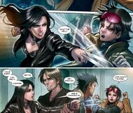 Laura Kinney (Earth-616), Remy LeBeau (Earth-616), James Howlett (Earth-616), and Jubilation Lee (Earth-616) from X-23 Vol 3 10 001