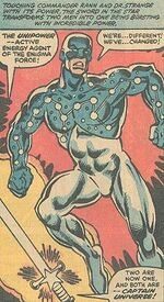 Arcturus Rann (Earth-616) and Captain Universe (Earth-616) from Micronauts Vol 1 35 0001