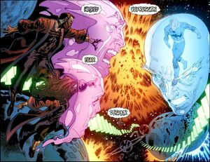 Alice Hayes (Earth-616) and Gene Hayes (Earth-616) battling Charles Xavier (Earth-616) from Iron Man- Legacy Vol 1 11 001