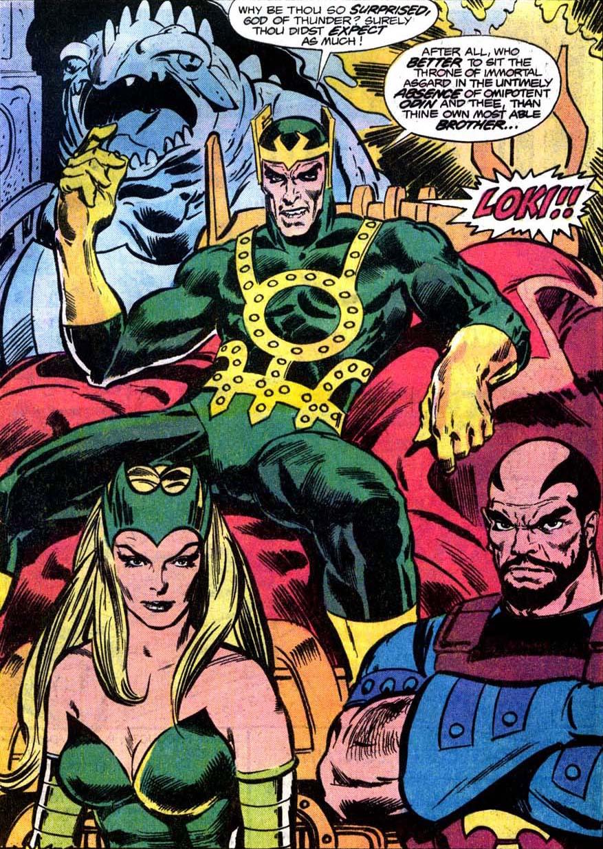 Loki Laufeyson (Earth-616), Amora (Earth-616), and Skurge (Earth-616) from Thor Vol 1 263 0001