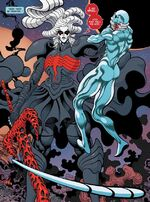 Knull (Earth-616) and Norrin Radd (Earth-616) from Silver Surfer Black Vol 1 1 001