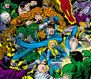 Fantastic Four (Earth-616) battle the Mad Thinker's android army from Fantastic Four Vol 1 100 001