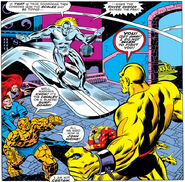 Fantastic Four (Earth-616) and Norrin Radd (Earth-616) battle the Doomsman II (Earth-616) from Fantastic Four Vol 1 157 001