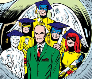 Charles Xavier (Earth-616) and the X-Men first graduation photo from X-Men Vol 1 7
