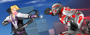 Clinton Barton (Earth-TRN562) and Ultron (Earth-TRN562) from Marvel Avengers Academy 001