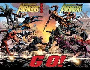 New Avengers (Earth-616) vs. Dark Avengers (Earth-616) from New Avengers Vol 2 20 0001