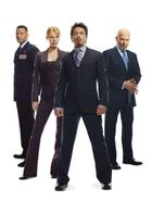 Anthony Stark (Earth-199999), Virginia Potts (Earth-199999), James Rhodes (Earth-199999) and Obadiah Stane (Earth-199999) from Iron Man (film) promo 001