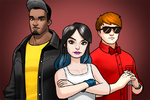 Luke Cage (Earth-TRN562), Jessica Jones (Earth-TRN562), and Matthew Murdock (Earth-TRN562) from Marvel Avengers Academy 001