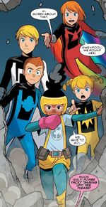 Power Pack (Earth-Unknown) and Lunella Lafayette (Earth-Unknown) from Unbelievable Gwenpool Vol 1 25 001