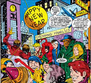 Fantastic Four (Earth-616) and Alicia Masters (Earth-616) ring in the New Year from Fantastic Four Vol 1 133 001