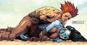 Aiden Gillespie (Earth-616) and Nara (Earth-616) from Avengers Arena Vol 1 15 0001