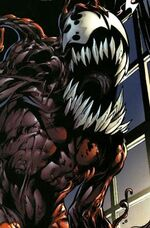 Gwendolyne Stacy (Clone) (Earth-616) and Carnage (Symbiote) (Earth-1610) from Ultimate Spider-Man Vol 1 128 0002